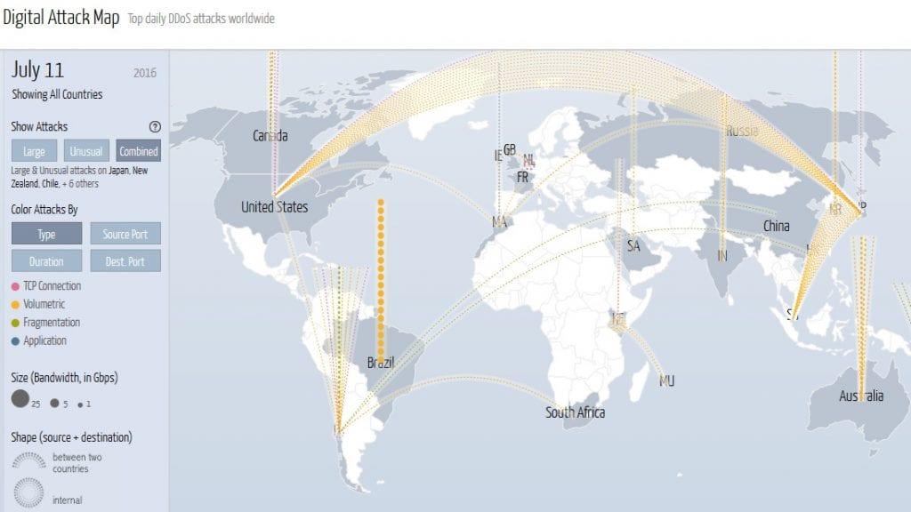 DDOS attack map July 11 data