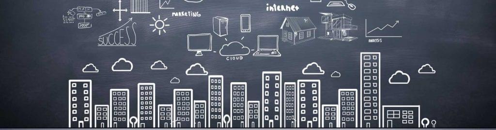 chalkboard drawing of city internet