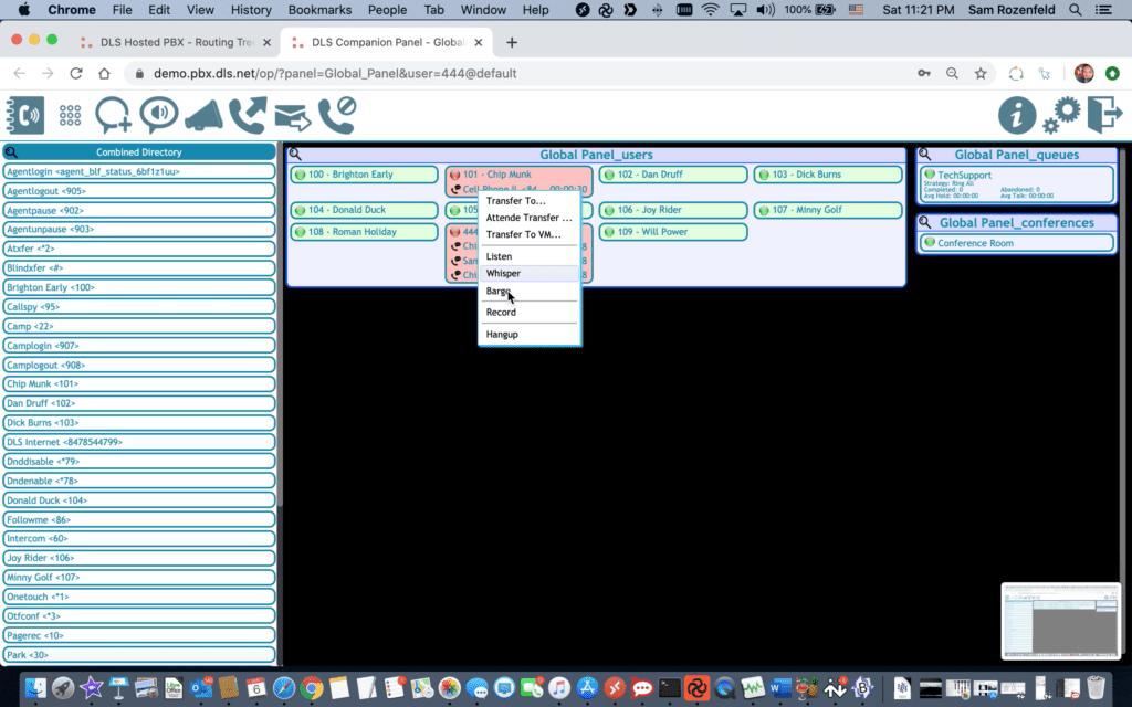 Operator Companion Panel with Contact Lists